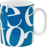Mug script collage blue